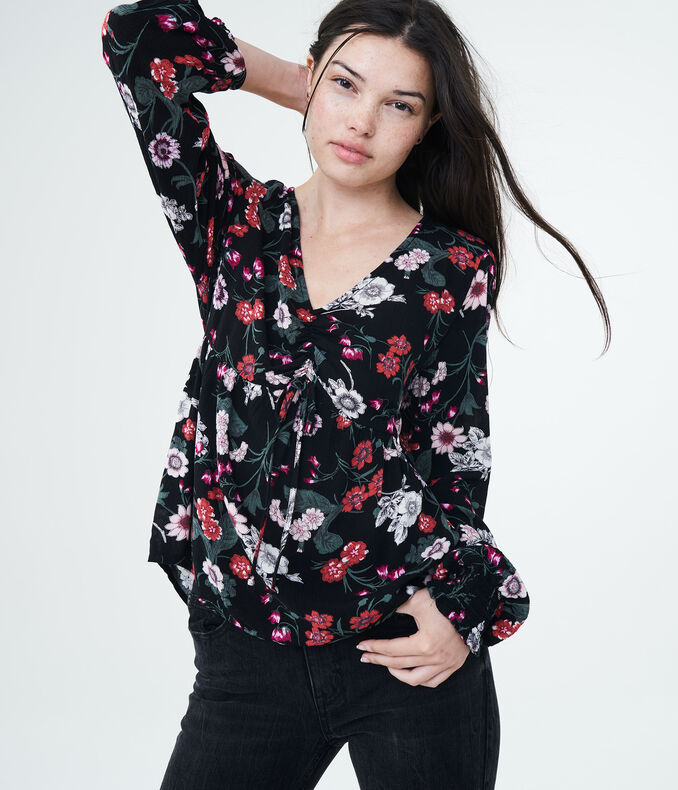 Long Sleeve Floral V-Neck Tunic Top