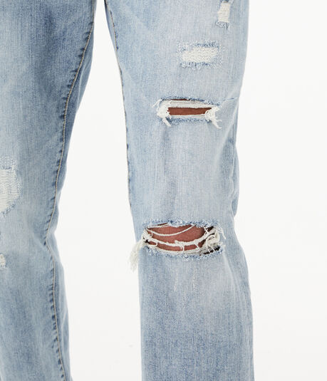 Slim Straight Light Wash Destroyed Stretch Jean