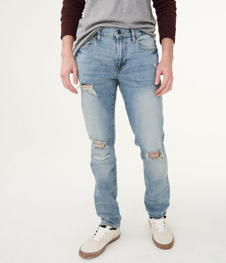 Slim Light Wash Destroyed Stretch Jean