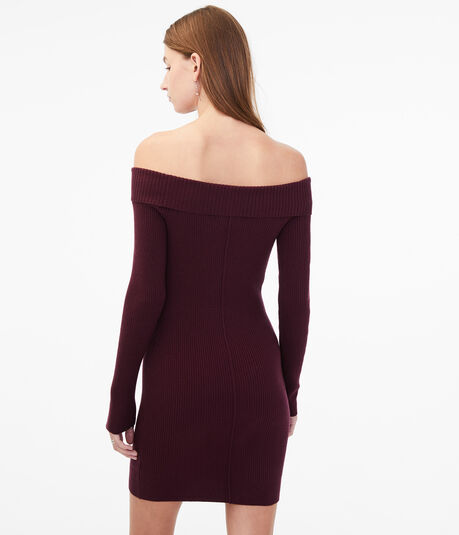 Long Sleeve Ribbed Off-The-Shoulder Sweater Dress***