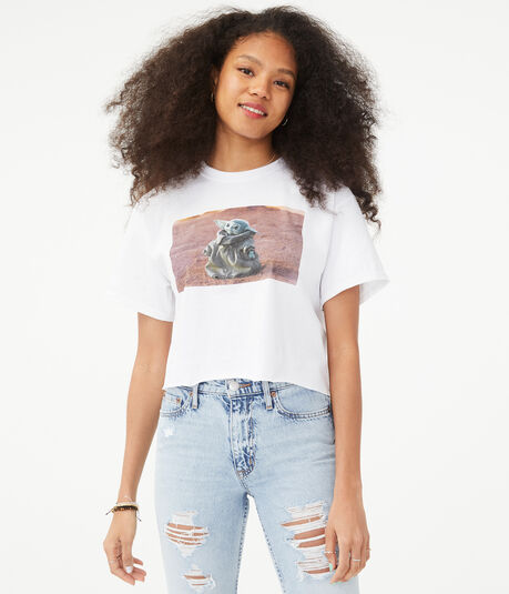Baby Yoda Cropped Graphic Tee
