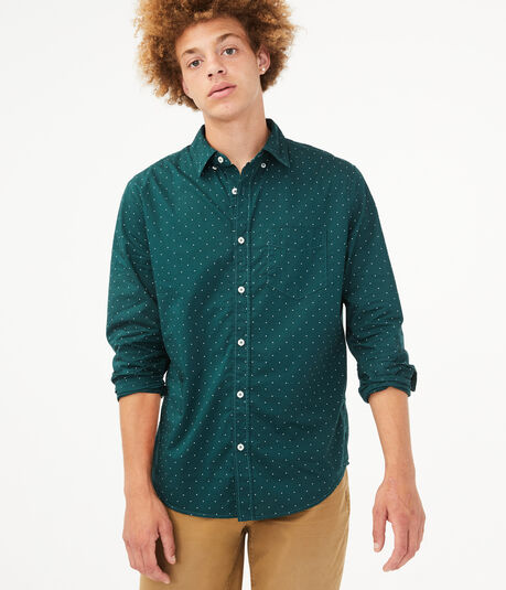 Long Sleeve Dot Button-Down Shirt
