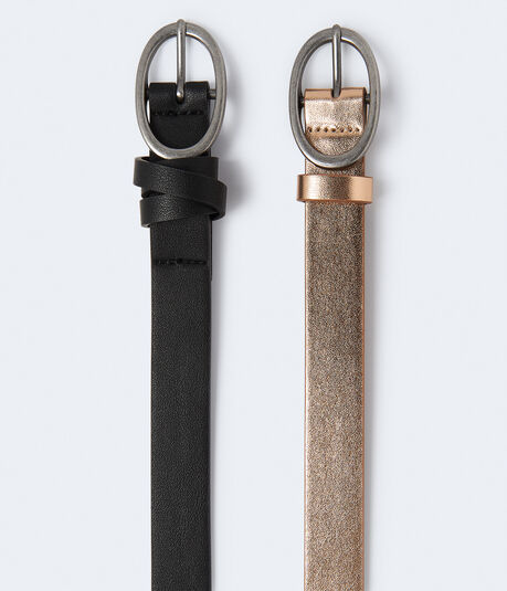 Faux Leather Ring Belt 2-Pack