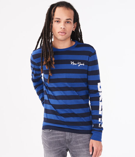 Long Sleeve New York Rugby Stripe Graphic Tee