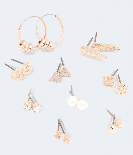 Wings & Love Mixed Stud & Hoop Earring 9-Pack