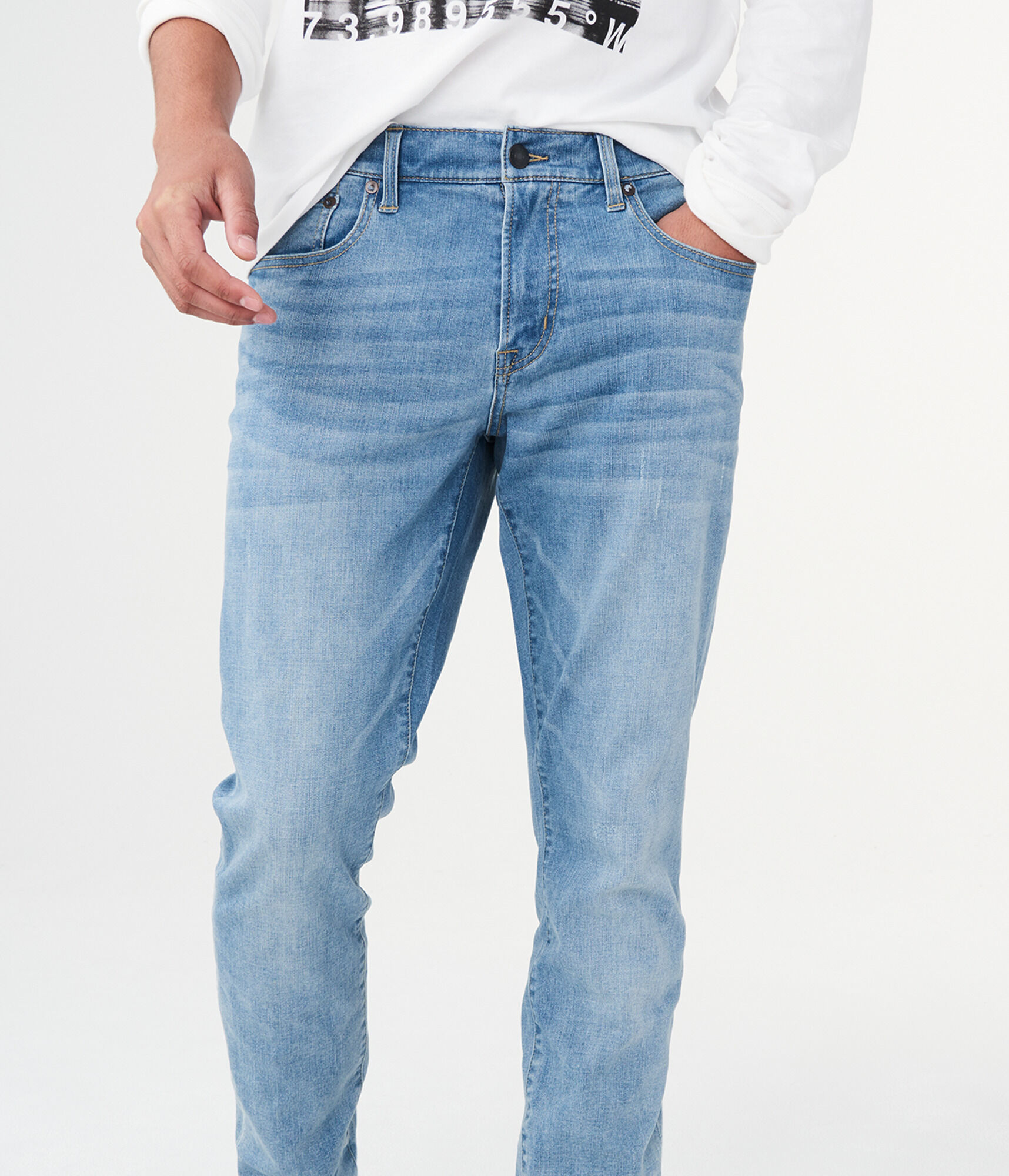 aeropostale mens flex effects super skinny light wash destroyed jean