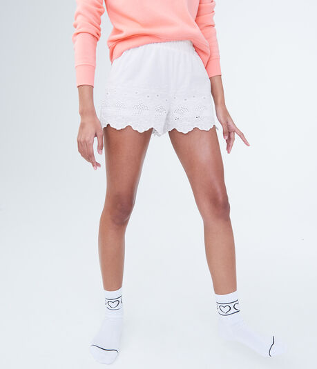 LLD Eyelet High-Waisted Sleep Shorts