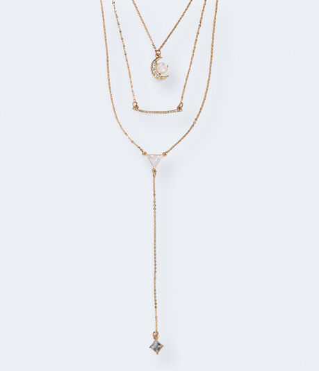Moon Layered Y-Neck Short-Strand Necklace