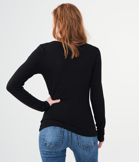 LLD Long Sleeve Heathered Twist-Front V-Neck Top