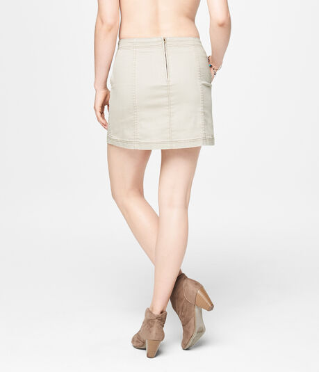 Lace-Up Tan Wash A-Line Denim Skirt