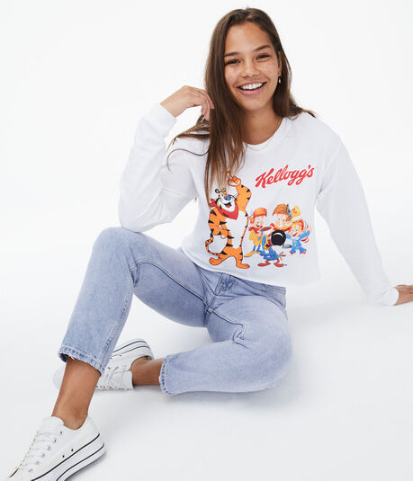 Long Sleeve Kellogg's Cropped Graphic Tee***