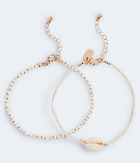 Shell & Bead Anklet 2-Pack