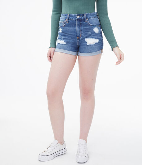 Flex Effects High-Rise Denim Midi Shorts