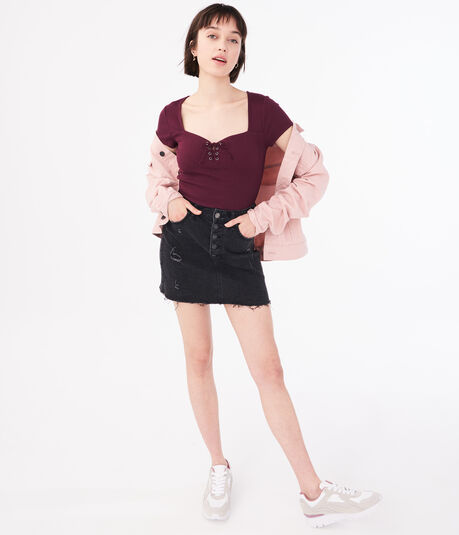 Seriously Soft Lace-Up Sweetheart Top