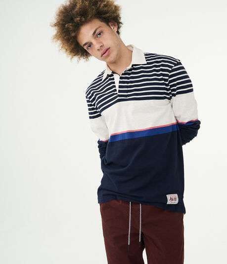 Long Sleeve Rugby Stripe Jersey Polo