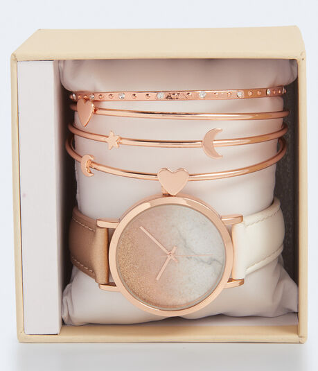 Ombré Glitter Faux Leather Watch & Bracelet Set***