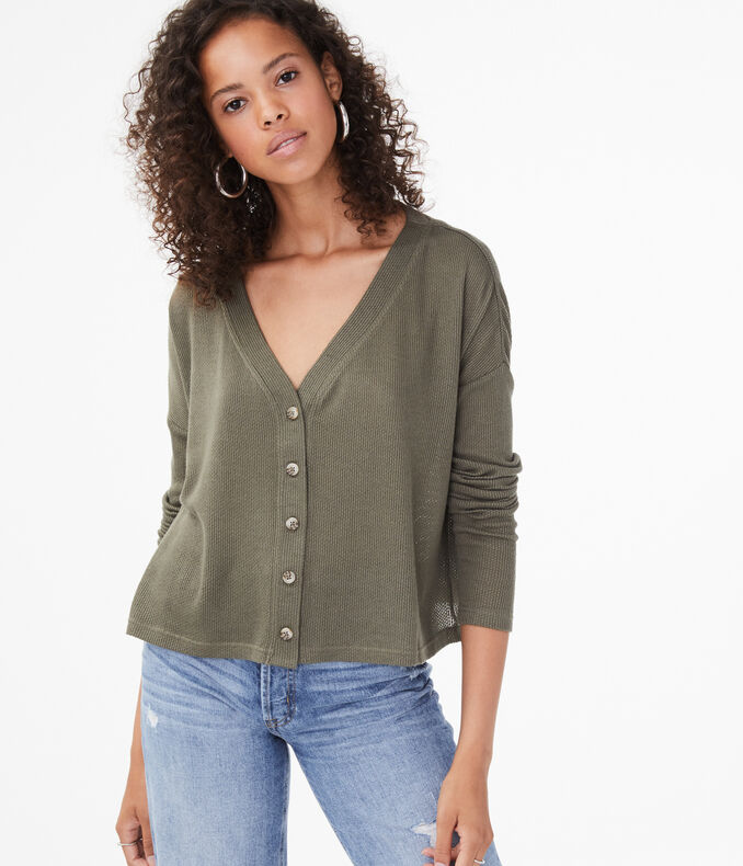 Buttoned Sweater-Knit Cardigan