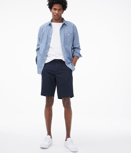 """Dotted 9.5"""" Stretch Twill Shorts"""