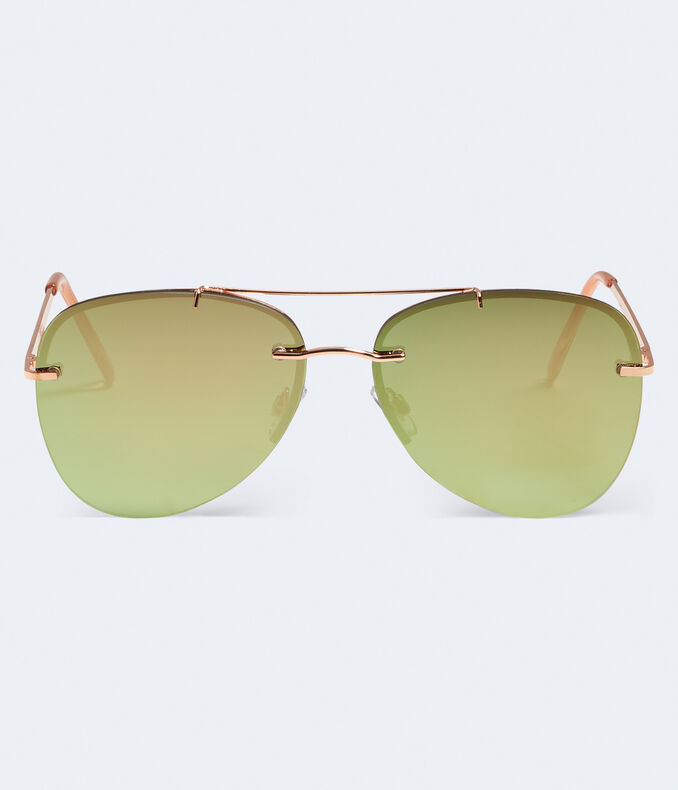 Rimless Mirrored Aviator Sunglasses