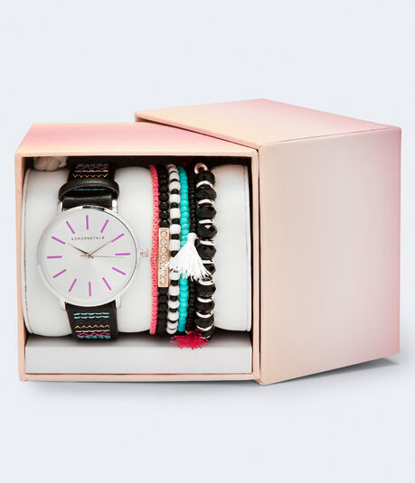 Faux Leather Stitched Analog Watch & Bracelet Set