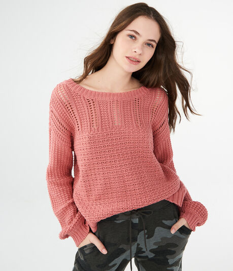 Solid Pointelle Sweater