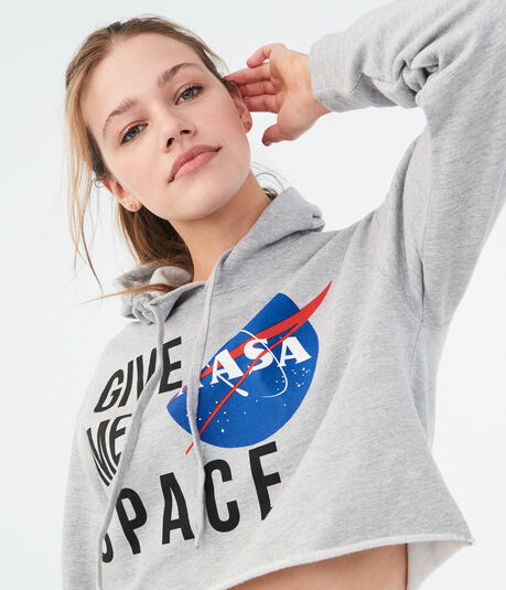 NASA Cropped Pullover Hoodie