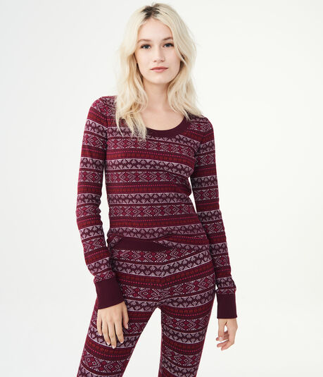 LLD Long Sleeve Fair Isle Crew Top