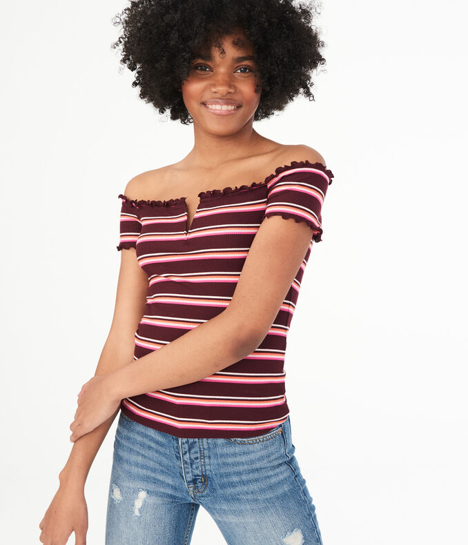 Seriously Soft Striped Off-The-Shoulder Top