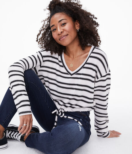 Striped Cinched Cropped V-Neck Top