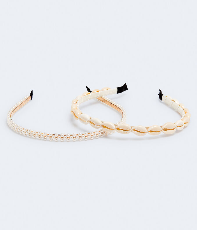 Shell & Faux Pearl Headband 2-Pack