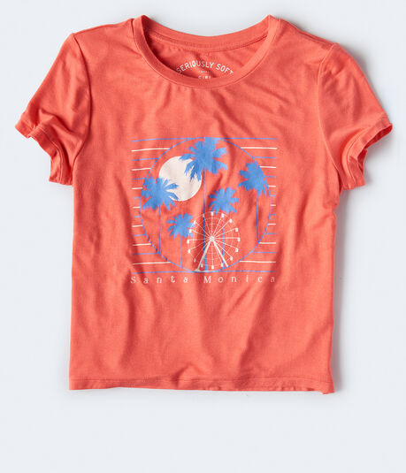 Seriously Soft Santa Monica Graphic Girl Tee