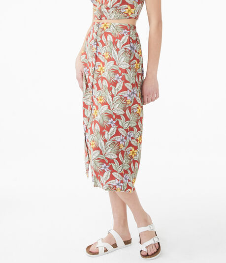 Tropical Button-Front Midi Skirt
