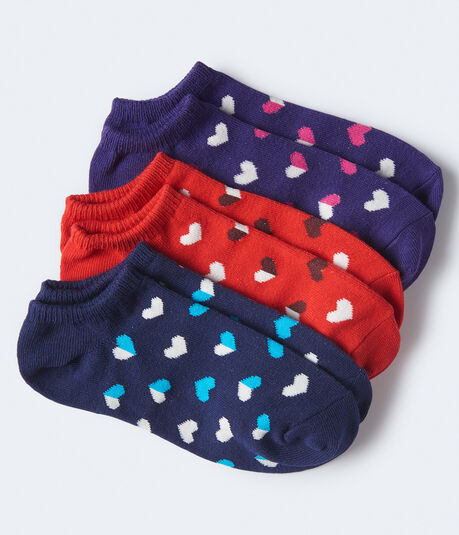 3-Pack Hearts Ankle Socks