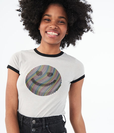 Rainbow Smiley Face Ringer Graphic Tee