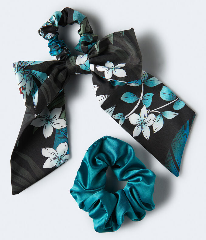 Tropical Flower & Solid Scrunchie 2-Pack