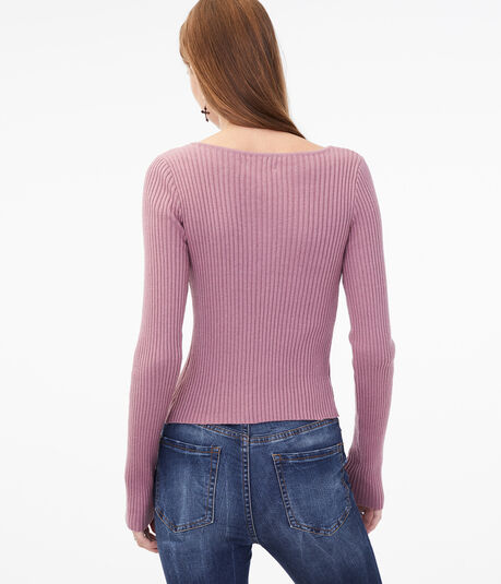 Long Sleeve Ribbed V-Wire Bodycon Top