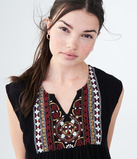 Embroidered Peasant Tank