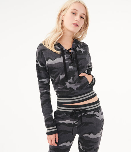 Camo Lace-Up Pullover Hoodie
