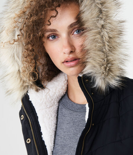 Solid Faux Fur Hooded Puffer Vest