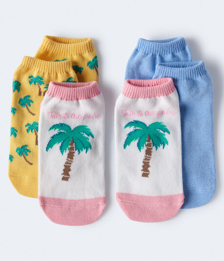 3-Pack Palm Tree & Solid Ankle Socks