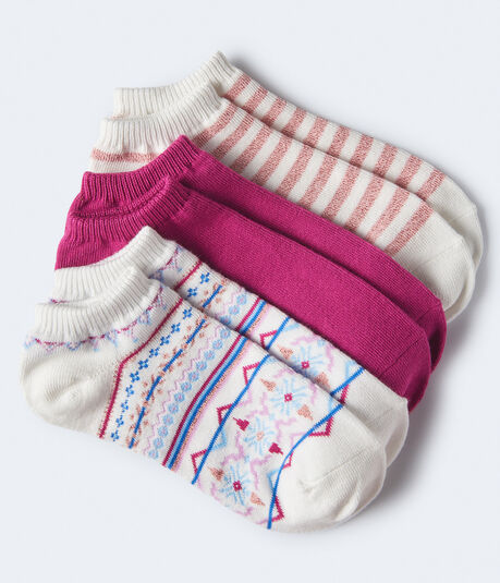 3-Pack Metallic Stripe, Fair Isle and Solid Ankle Socks