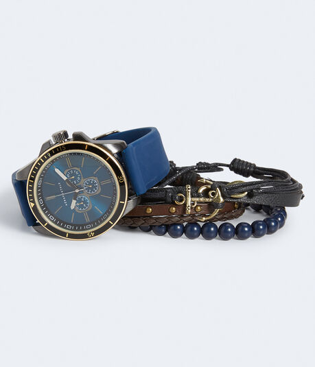 Rubber Chrono Analog Watch & Bracelet Set