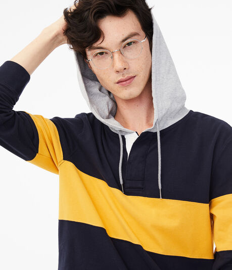 Long Sleeve Colorblock Hooded Rugby
