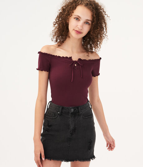 Seriously Soft Lace-Up Bodycon Top