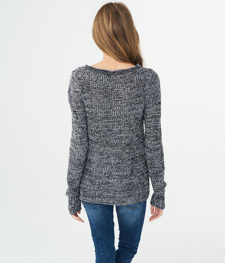 Solid Crisscross Keyhole Sweater