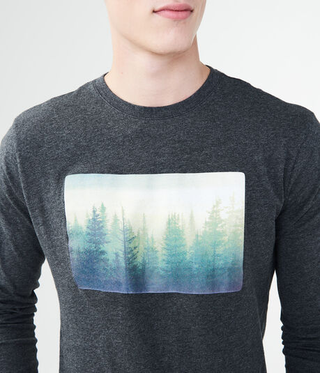 Long Sleeve Forest Photo Graphic Tee