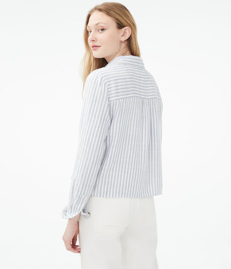 Long Sleeve Striped Button-Down Shirt