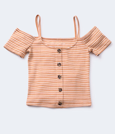 Striped Cold-Shoulder Bodycon Crop Top