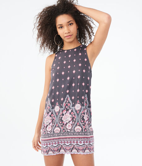 Paisley High-Neck Shift Dress