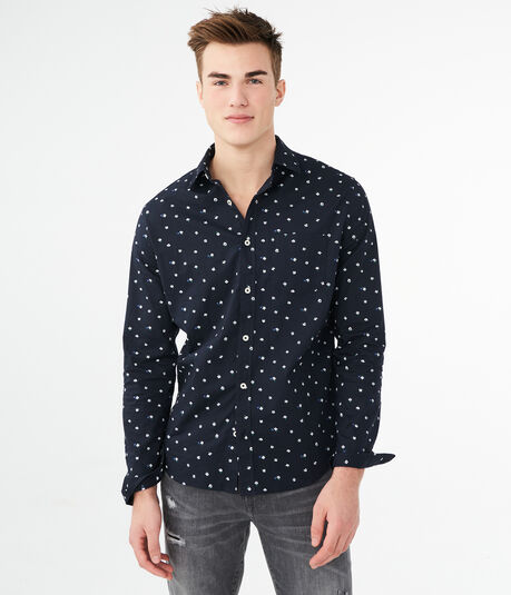 Long Sleeve Geo Floral Woven Shirt